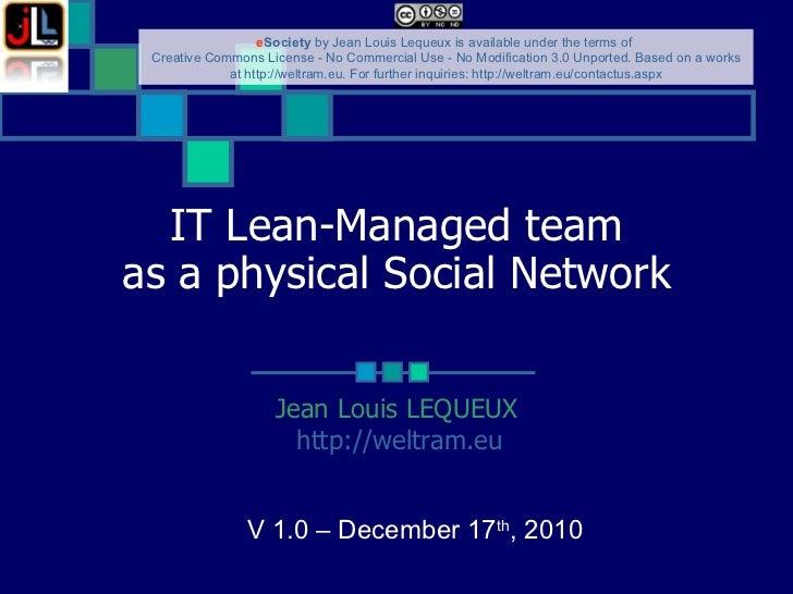 LM 4 IT as a physical Social Network Jean Louis LEQUEUX http://weltram.eu   V 1.0 – December 17 th , 2010