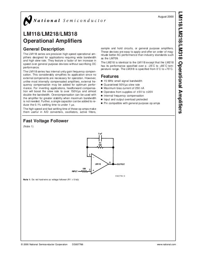 LM118/LM218/LM318 Operational Amplifiers                                                                                  ...
