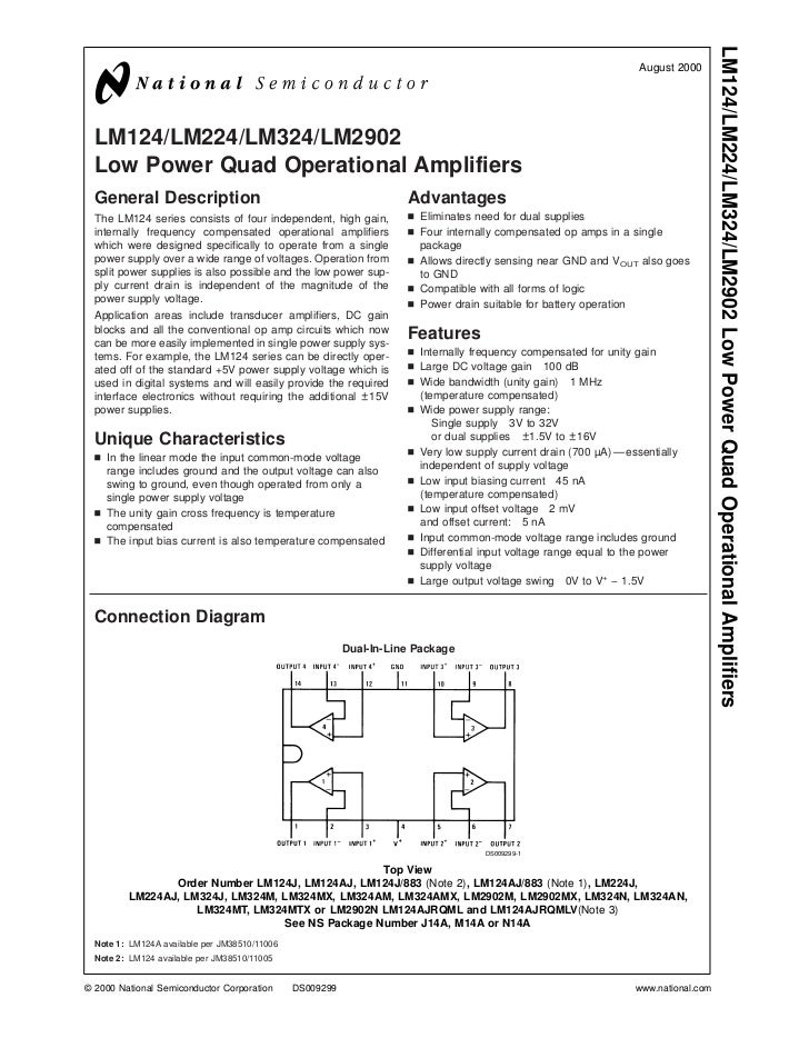 LM124/LM224/LM324/LM2902 Low Power Quad Operational Amplifiers                                                            ...