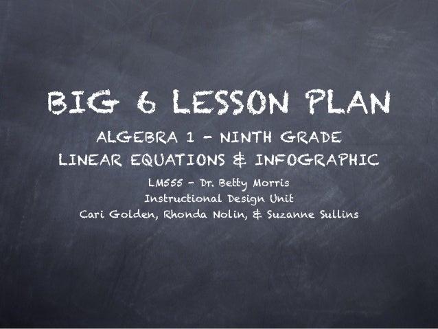 BIG 6 LESSON PLAN ALGEBRA 1 - NINTH GRADE LINEAR EQUATIONS & INFOGRAPHIC LM555 - Dr. Betty Morris Instructional Design Uni...