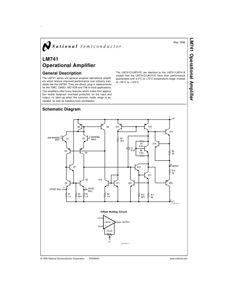 Lm741 data sheet for Home 741 741
