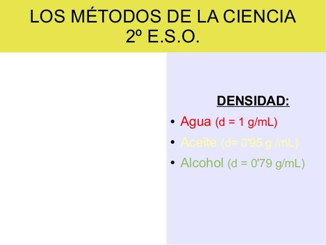 LOS MÉTODOS DE LA CIENCIA 2º E.S.O.  DENSIDAD: ●  Agua (d = 1 g/mL)  ●  Aceite (d= 0'95 g /mL)  ●  Alcohol (d = 0'79 g/mL)