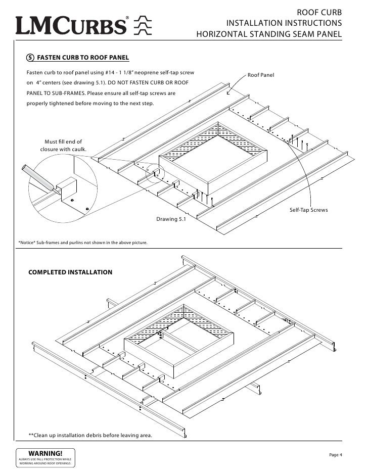 ROOF CURB INSTALLATION INSTRUCTIONS HORIZONTAL STANDING SEAM PANEL 5 FASTEN  CURB TO ROOF PANEL Fasten Curb To Roof Panel Using #14   1 1/8u201d Neoprene ...