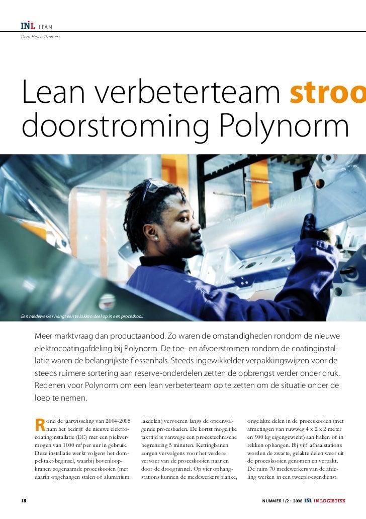 LEANDoor Heico TimmersLean verbeterteam stroodoorstroming PolynormEen medewerker hangt een te lakken deel op in een proces...
