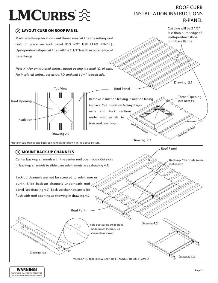 ROOF CURB INSTALLATION INSTRUCTIONS R PANEL Cut Line Will Be 2 1/2u201d 2  LAYOUT CURB ON ROOF PANEL Less Than Outer Edge Of Mark Base Ange Locations  And Throat ...