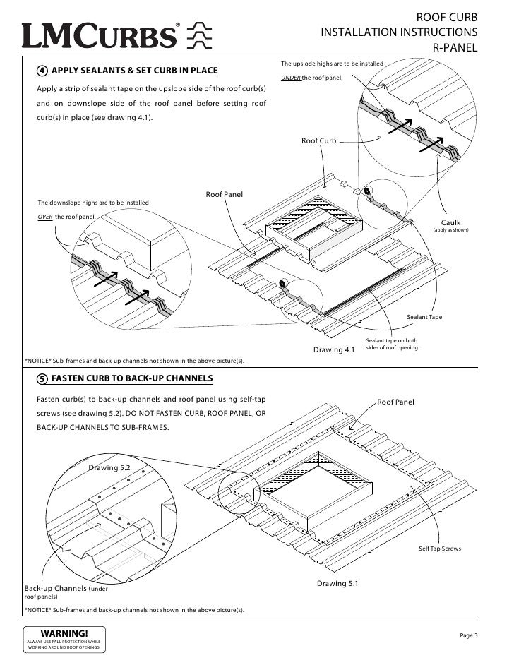 ROOF CURB INSTALLATION INSTRUCTIONS R-PANEL The upslode highs are to be installed 4 APPLY SEALANTS u0026 SET CURB IN PLACE UNDER the roof panel.  sc 1 st  SlideShare & LMCurbs Roof Curb Installation Instructions For R-Panel Metal Roof memphite.com