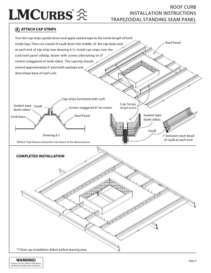 ROOF CURB INSTALLATION INSTRUCTIONS TRAPEZOIDAL STANDING SEAM PANEL 6  ATTACH CAP STRIPS Turn The Cap Strips Upside Down And Apply Sealant Tape To  The Entrie ...