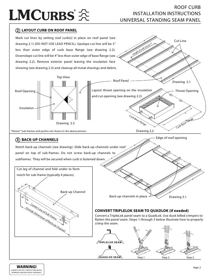 Standing Seam Roofing Installation Guide : Lmcurbs roof curb installation instructions for universal