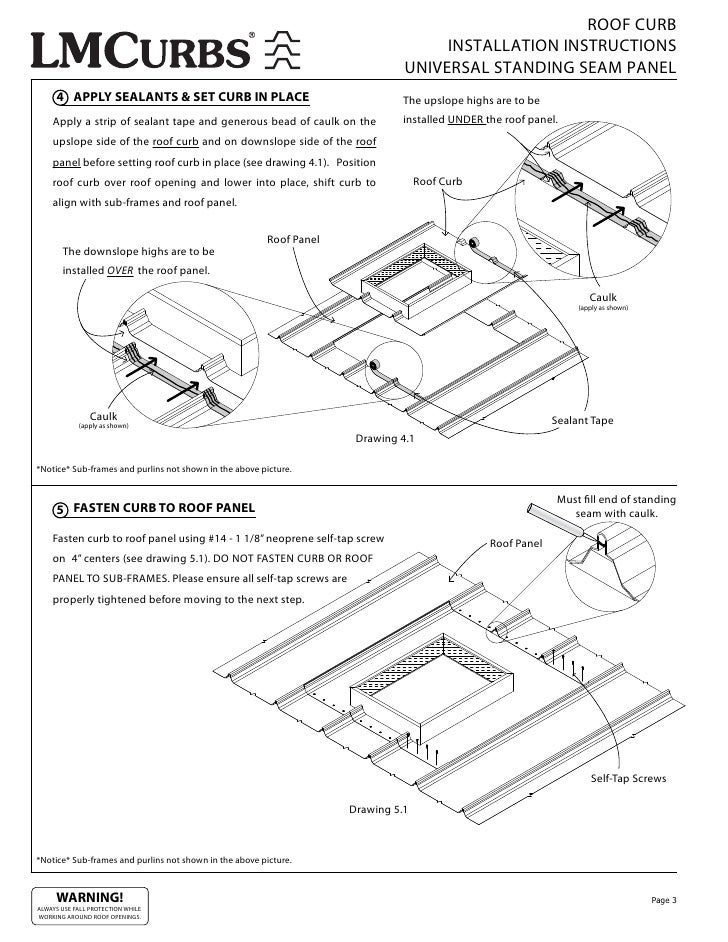 ROOF CURB INSTALLATION INSTRUCTIONS UNIVERSAL STANDING SEAM PANEL 4 APPLY  SEALANTS U0026 SET CURB IN PLACE The Upslope Highs Are To Be Apply A Strip Of  Sealant ...