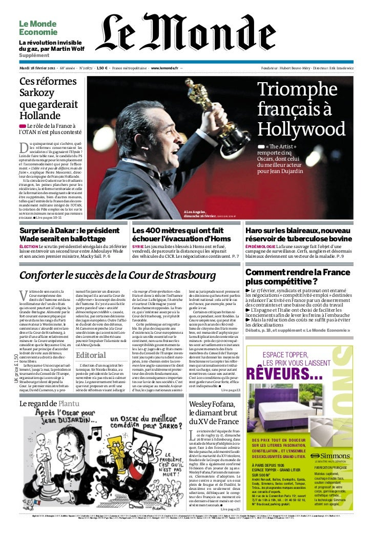 Le Monde             Economie             La révolution invisible             du gaz, par Martin Wolf             Suppléme...