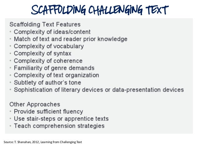 SCAFFOLDING CHALLENGING TEXTSource: T. Shanahan, 2012, Learning from Challenging Text