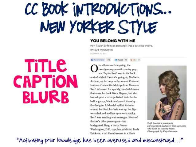 "CC Book introductions…      New Yorker Style TitleCaption Blurb""Activating prior knowledge has been overused and misconstr..."