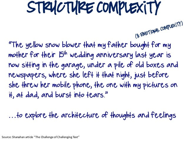 """structure Complexity    """"The yellow snow blower that my father bought for my    mother for their 15th wedding anniversary ..."""