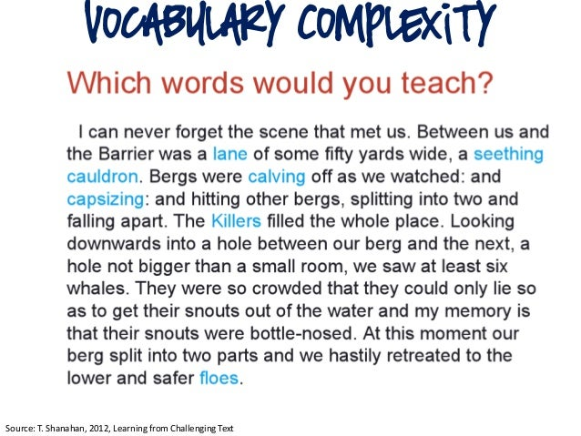 vocabulary ComplexitySource: T. Shanahan, 2012, Learning from Challenging Text