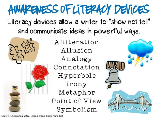 """Awareness of Literacy Devices     Literacy devices allow a writer to """"show not tell""""         and communicate ideas in powe..."""