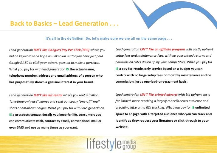 Back to Basics – Lead Generation . . . <br />It's all in the definition! So, let's make sure we are all on the same page ....
