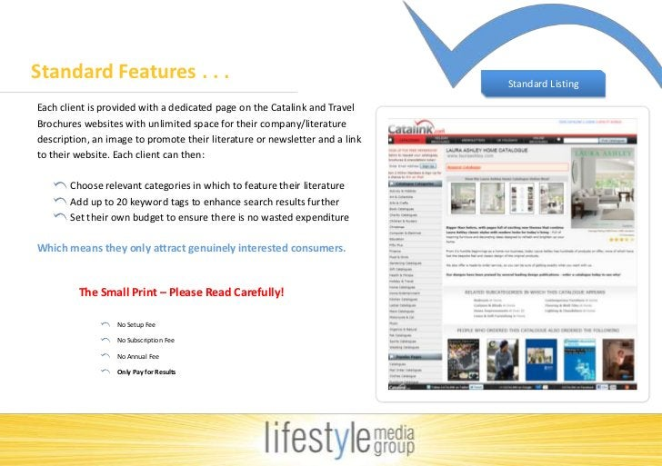 Standard Features . . . <br />Standard Listing<br />Each client is provided with a dedicated page on the Catalink and Trav...