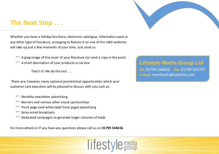 The Next Step . . .<br />Whether you have a holiday brochure, electronic catalogue, information pack or any other type of ...