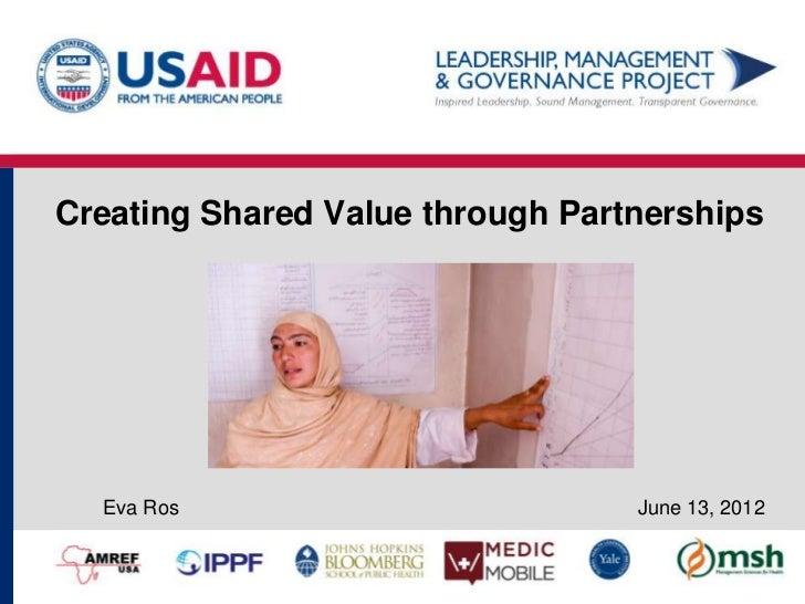 Creating Shared Value through Partnerships  Eva Ros                         June 13, 2012