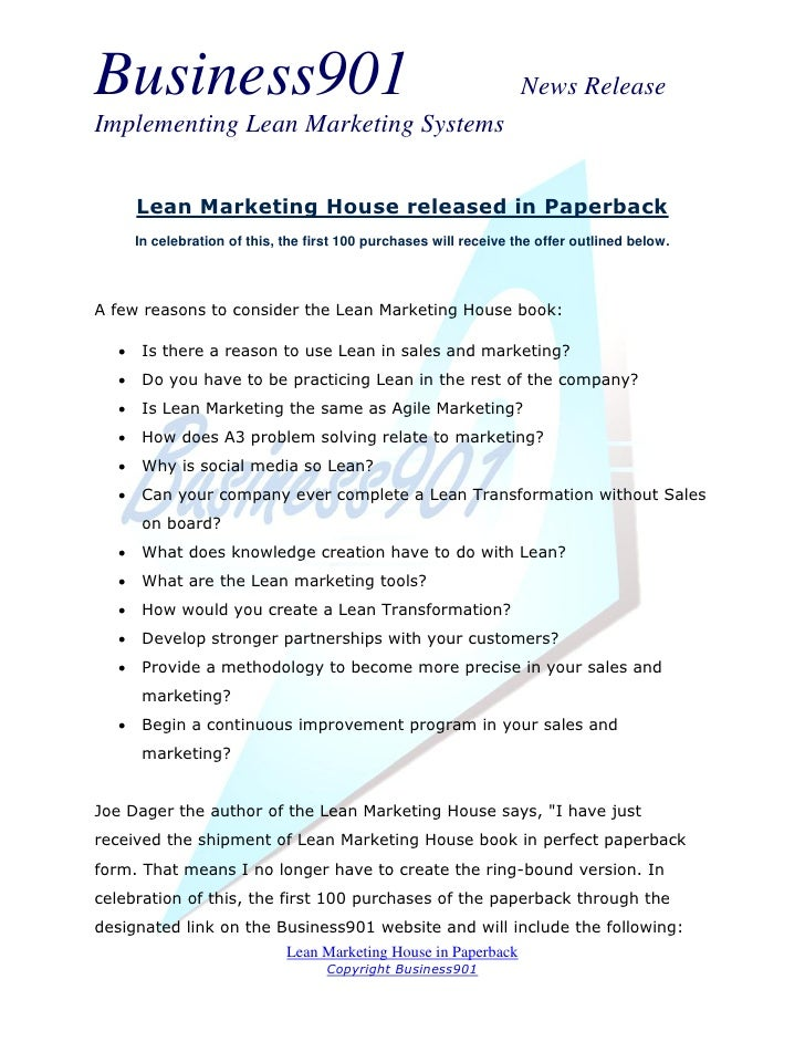 Business901                                                          News ReleaseImplementing Lean Marketing Systems      ...