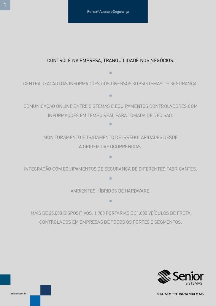 Folder SEGURANÇA - Ronda® Acesso e Segurança Senior