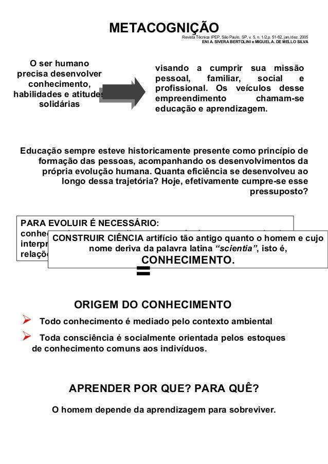 METACOGNIÇÃO Revista Técnica IPEP, São Paulo, SP, v. 5, n. 1/2,p. 51-62, jan./dez. 2005 ENI A. SIVERA BERTOLINI e MIGUEL A...