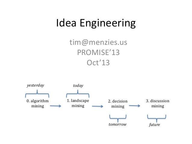 Idea Engineering tim@menzies.us PROMISE'13 Oct'13 0. algorithm mining 1. landscape mining 2. decision mining 3. discussion...