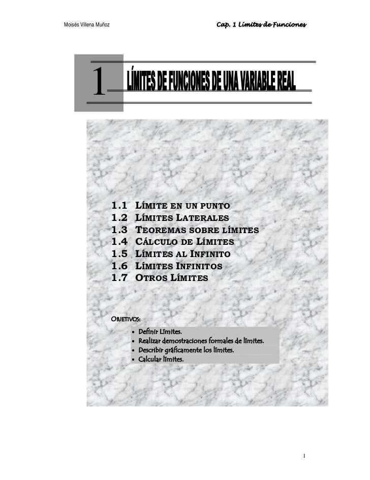 Moisés Villena Muñoz                                        Cap. 1 Límites de Funciones          1                       1...