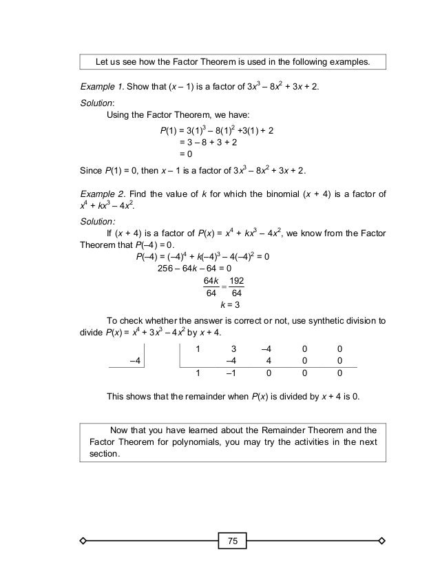 Grade 10 Module In Math – The Remainder Theorem Worksheet