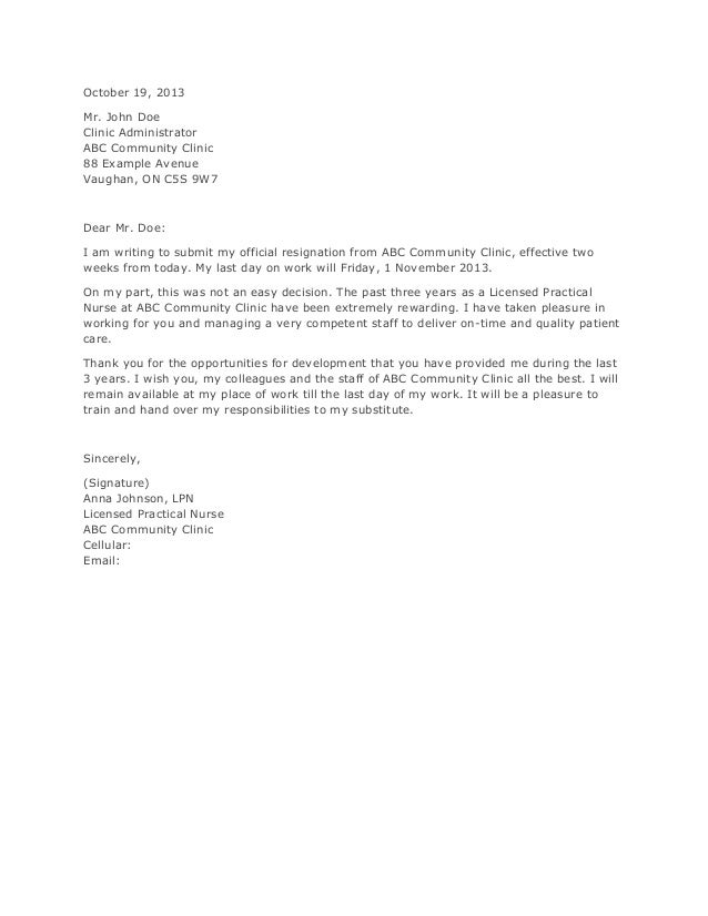 Application and Resignation Letter