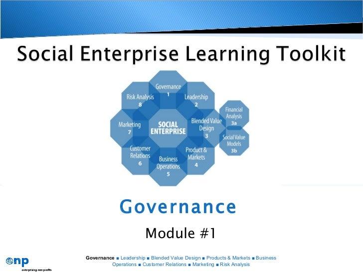 Governance   Module #1 Governance  ■ Leadership ■ Blended Value Design ■ Products & Markets ■ Business Operations ■ Custom...