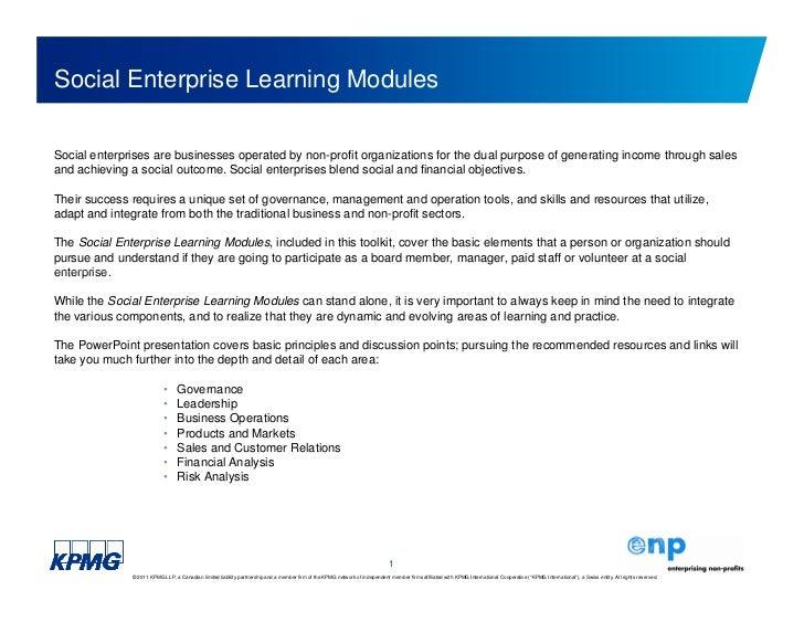 Social Enterprise Learning Toolkit (Financial Analysis Module)