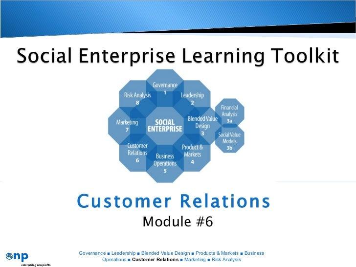 Customer Relations                          Module #6Governance ■ Leadership ■ Blended Value Design ■ Products & Markets ■...
