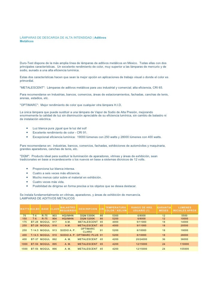 LÁMPARAS DE DESCARGA DE ALTA INTENSIDAD | Aditivos Metálicos     Duro-Test dispone de la más amplia línea de lámparas de a...