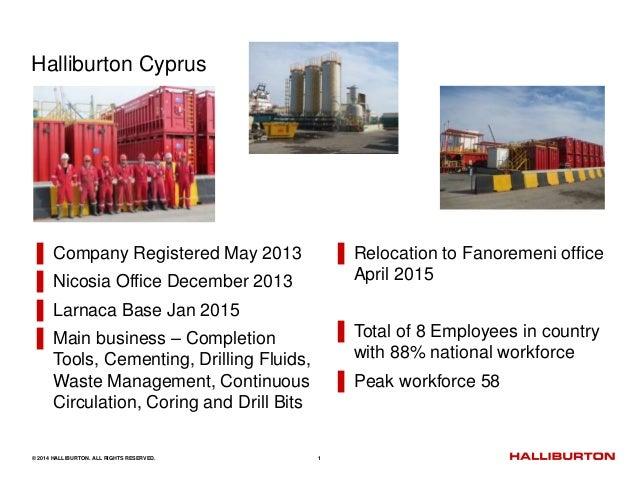 © 2014 HALLIBURTON. ALL RIGHTS RESERVED. 1 Halliburton Cyprus ▌ Company Registered May 2013 ▌ Nicosia Office December 2013...