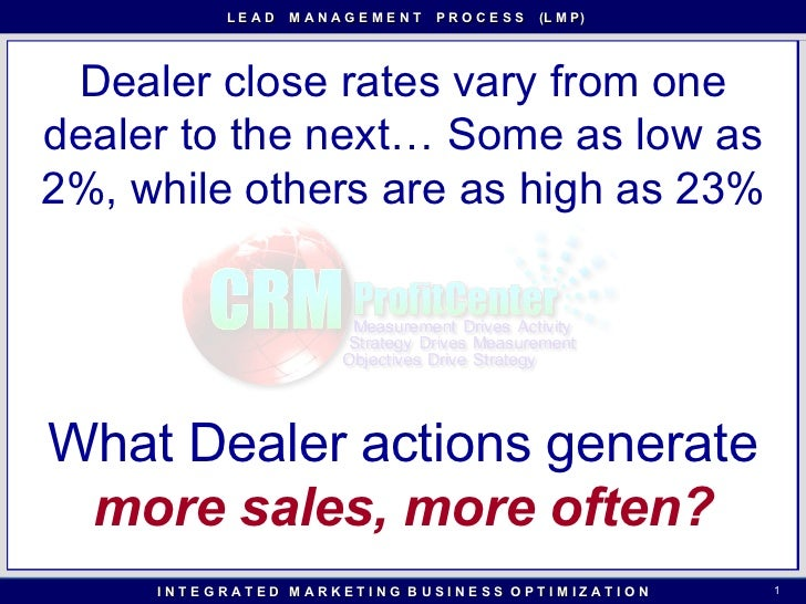Dealer close rates vary from one dealer to the next… Some as low as 2%, while others are as high as 23% What Dealer action...