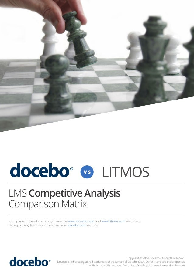 VS  LITMOS  LMS Competitive Analysis Comparison Matrix Comparison based on data gathered by www.docebo.com and www.litmos....