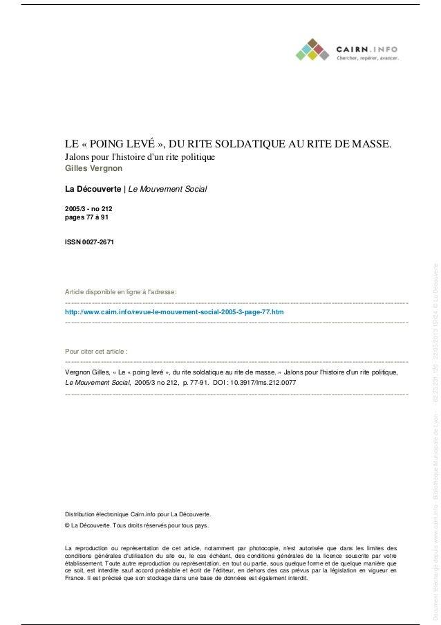 LE « POING LEVÉ », DU RITE SOLDATIQUE AU RITE DE MASSE.Jalons pour lhistoire dun rite politiqueGilles VergnonLa Découverte...