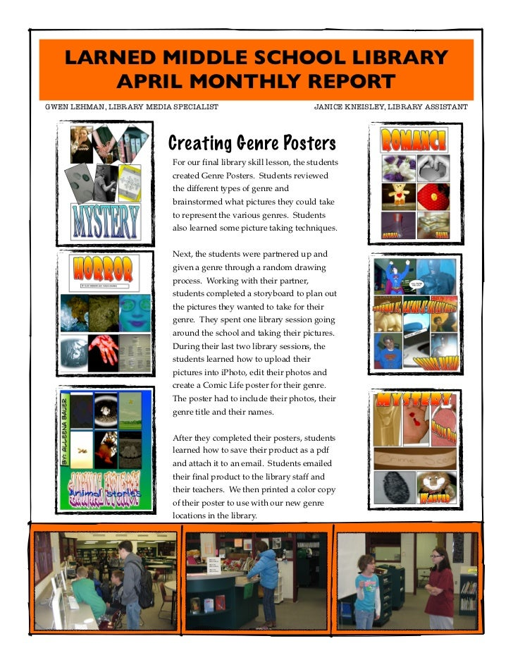 LARNED MIDDLE SCHOOL LIBRARY       APRIL MONTHLY REPORTGWEN LEHMAN, LIBRARY MEDIA SPECIALIST                            ...