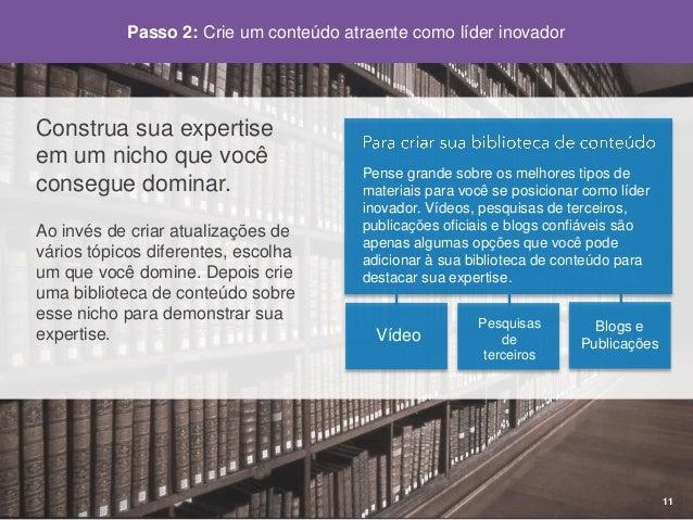 Passo2: Crie um conteúdo atraente como líder inovador  12  Encontresuavoz.  Sejagenuíno. Foque-se emeducaro consumidor/cli...