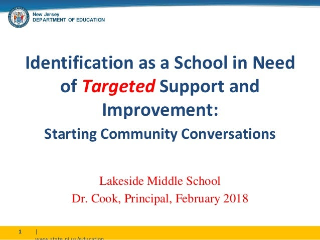 New Jersey DEPARTMENT OF EDUCATION |1 Identification as a School in Need of Targeted Support and Improvement: Starting Com...