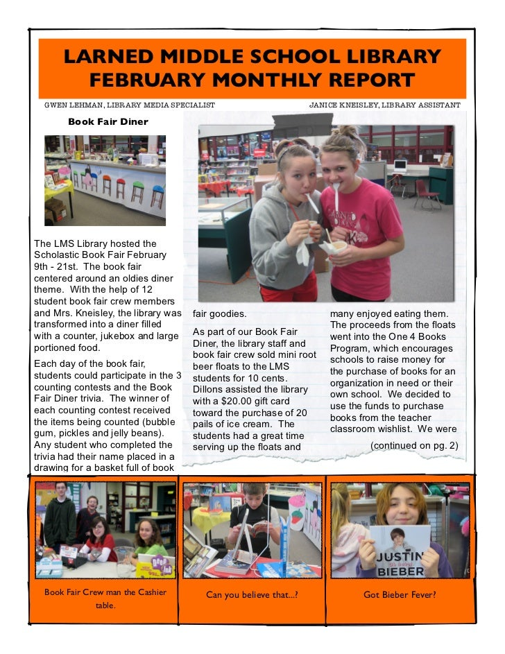 LARNED MIDDLE SCHOOL LIBRARY        FEBRUARY MONTHLY REPORT  GWEN LEHMAN, LIBRARY MEDIA SPECIALIST                      ...