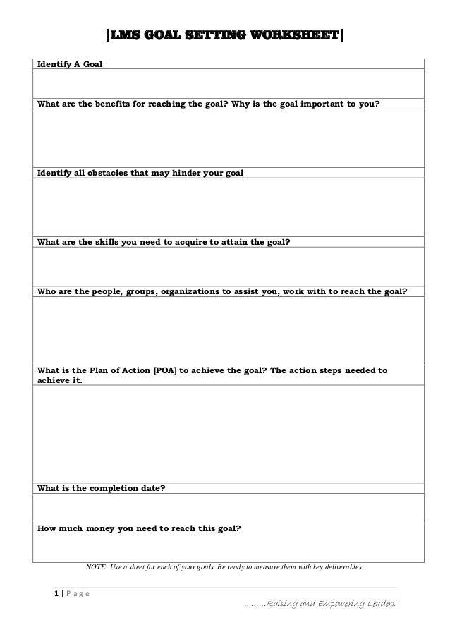 LMS Goal Setting Worksheet
