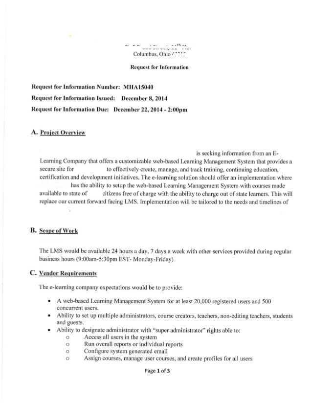 LMS RFP Example (LMS RFP Sample)