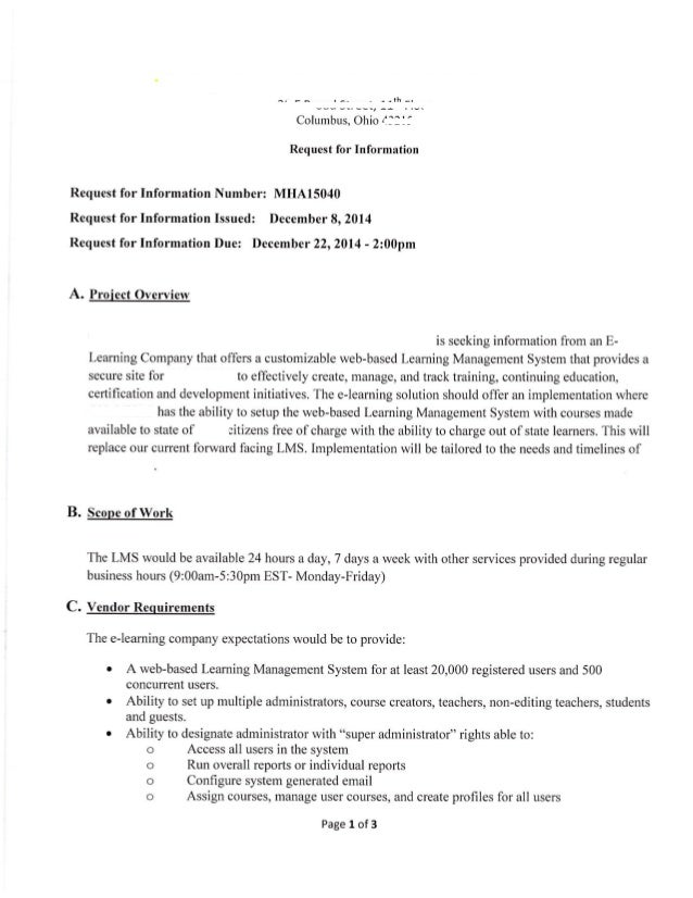 Lms rfp example lms rfp sample for Request for bids template