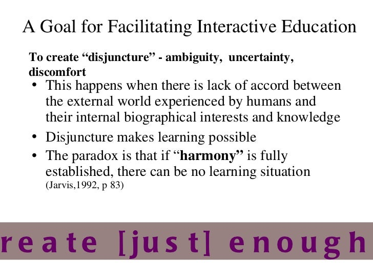 A Goal for Facilitating  Interactive Education <ul><li>This happens when there is lack of accord between the external worl...