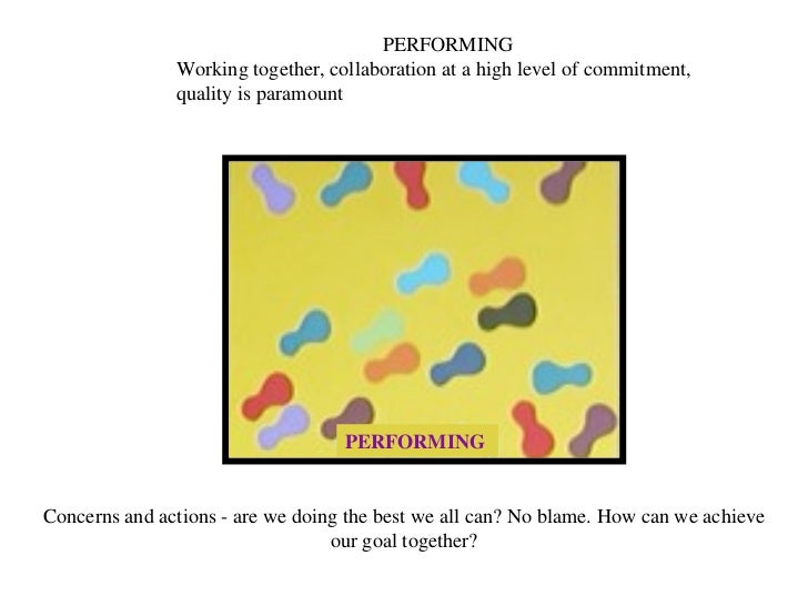 PERFORMING PERFORMING Working together, collaboration at a high level of commitment, quality is paramount Concerns and act...