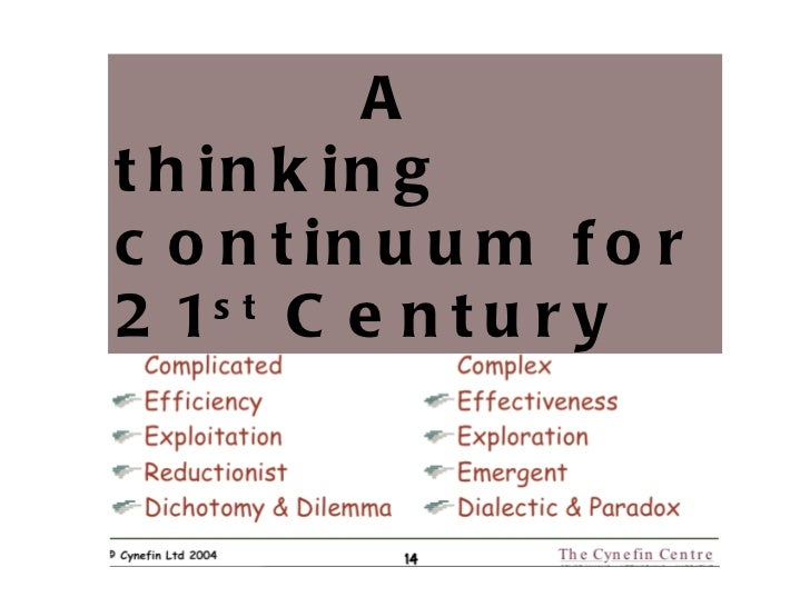 A thinking continuum for 21 st  Century