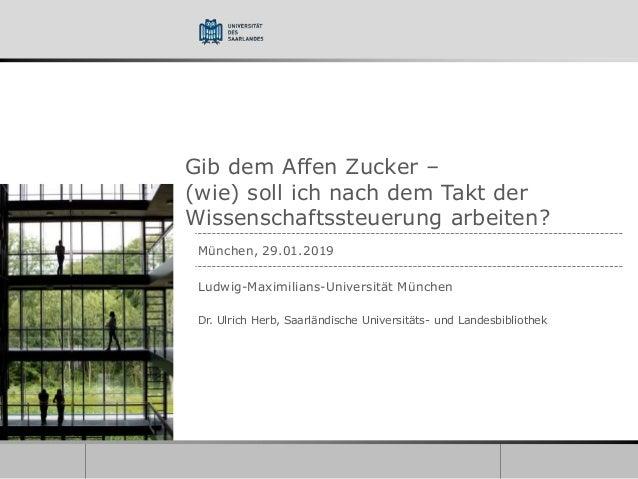 Gib dem Affen Zucker – (wie) soll ich nach dem Takt der Wissenschaftssteuerung arbeiten? München, 29.01.2019 Ludwig-Maximi...