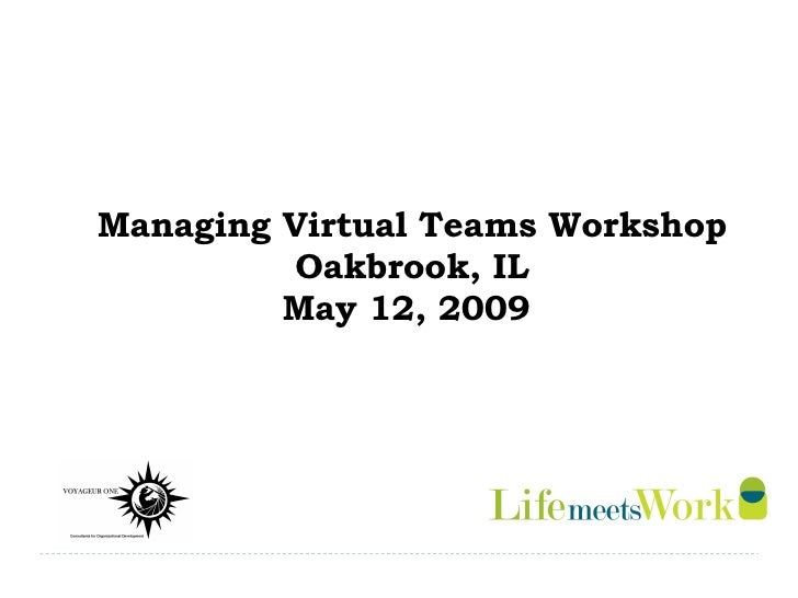 Managing Virtual Teams Workshop Oakbrook, IL May 12, 2009